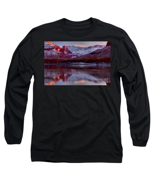 Long Sleeve T-Shirt featuring the photograph Fisher Towers Landscape Glow by Adam Jewell
