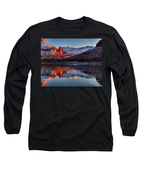 Long Sleeve T-Shirt featuring the photograph Fisher Towers Sunset On The Colorado by Adam Jewell