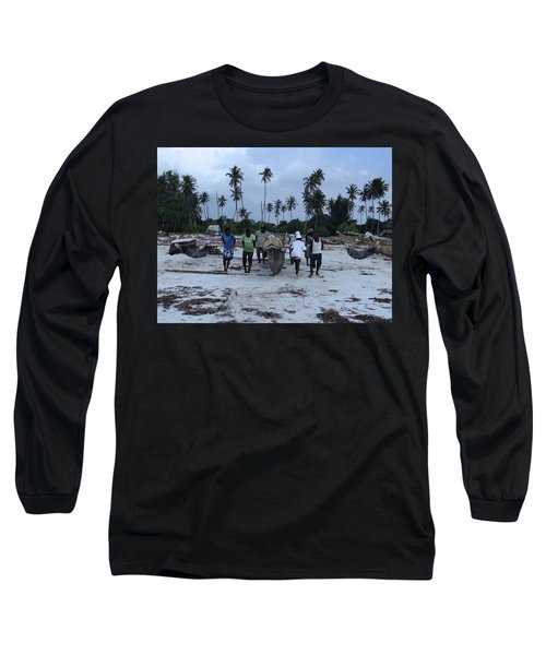 Fisherman Heading In From Their Days Catch At Sea With A Wooden Dhow Long Sleeve T-Shirt