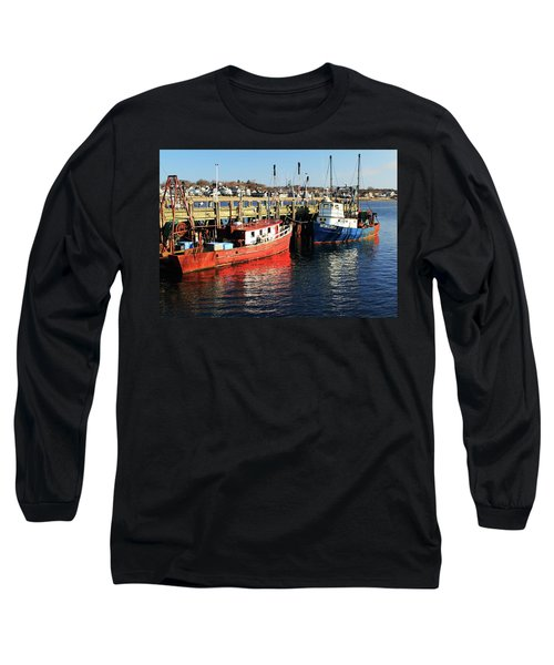 Long Sleeve T-Shirt featuring the photograph Fishing Boats At Provincetown Wharf by Roupen  Baker