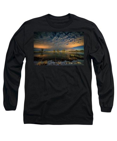 Fishing Hole At Night Long Sleeve T-Shirt by Fiskr Larsen