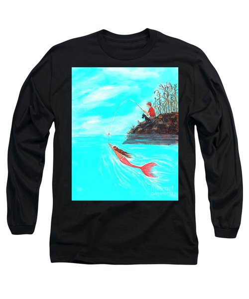 Long Sleeve T-Shirt featuring the painting Fishing Surprise by Leslie Allen