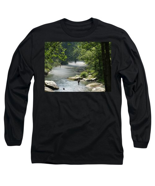 Fishing The Gunpowder Falls Long Sleeve T-Shirt by Donald C Morgan