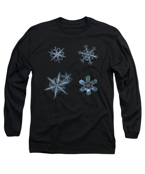 Five Snowflakes On Black 3 Long Sleeve T-Shirt by Alexey Kljatov