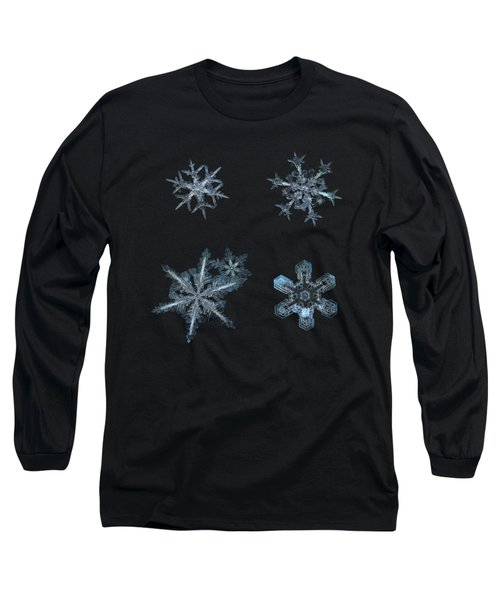 Five Snowflakes On Black 3 Long Sleeve T-Shirt