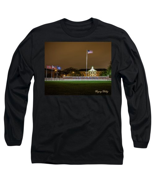 Long Sleeve T-Shirt featuring the photograph Flag At Night In Wind by Gregory Daley  PPSA