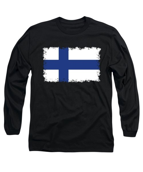 Long Sleeve T-Shirt featuring the digital art Flag Of Finland by Bruce Stanfield
