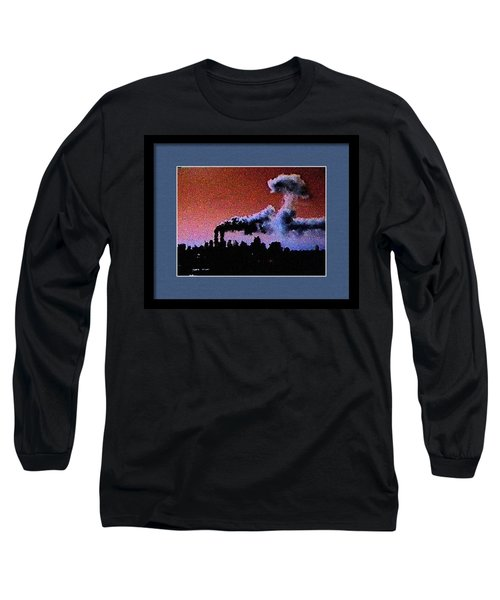 Long Sleeve T-Shirt featuring the digital art Flight 175 Mushroom Cloud Framed Example by James Kosior