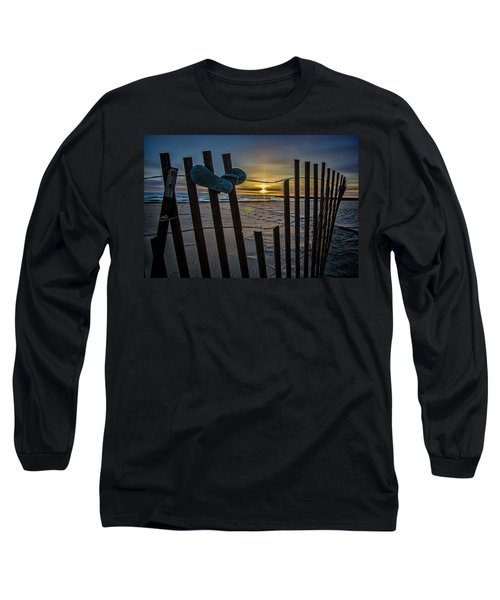 Flip Flops On A Beach At Sun Rise Long Sleeve T-Shirt