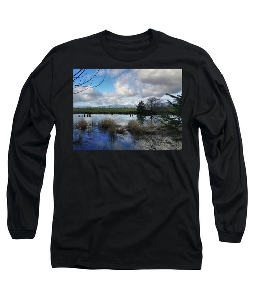 Long Sleeve T-Shirt featuring the photograph Flooding River, Field And Clouds by Chriss Pagani