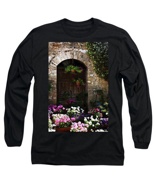 Floral Adorned Doorway Long Sleeve T-Shirt by Marilyn Hunt