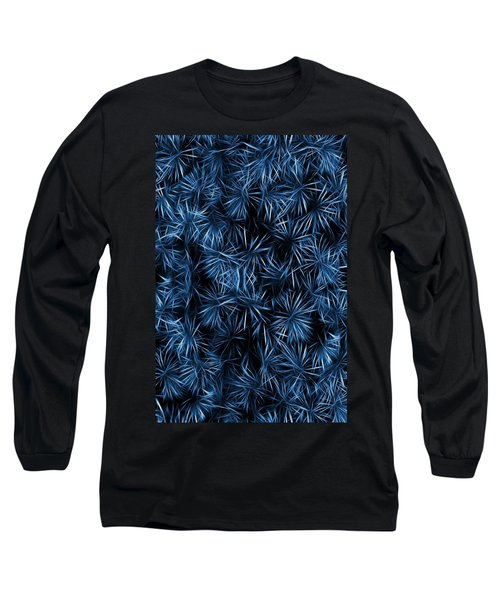 Floral Blue Abstract Long Sleeve T-Shirt by David Dehner