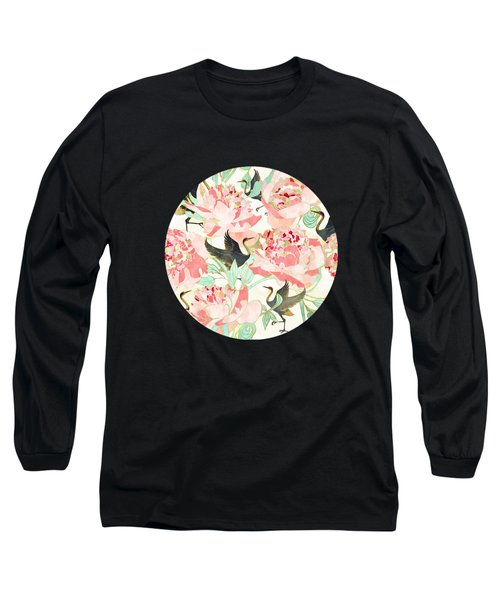 Floral Cranes Long Sleeve T-Shirt