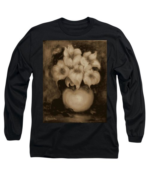 Floral Puffs In Brown Long Sleeve T-Shirt