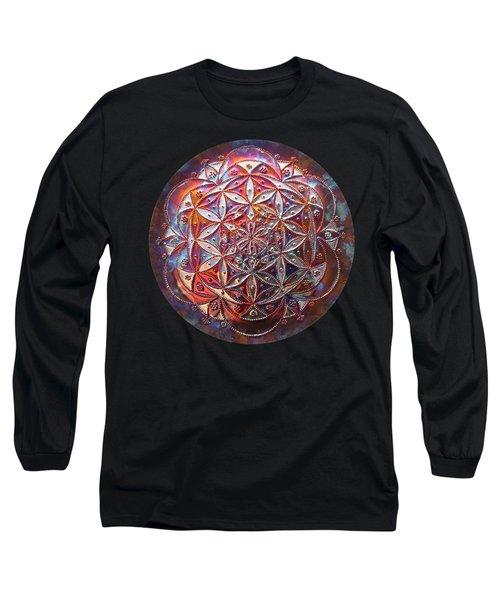 Long Sleeve T-Shirt featuring the sculpture Flower Of Life Copper Lightmandala by Robert Thalmeier