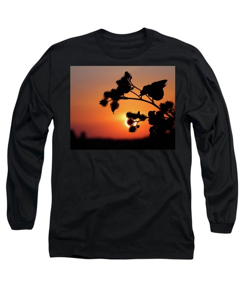 Flower Silhouette Long Sleeve T-Shirt by Teemu Tretjakov