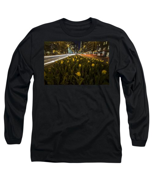 Flowers At Night On Chicago's Mag Mile Long Sleeve T-Shirt