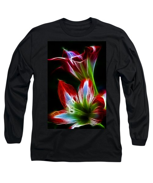 Flowers In Green And Red Long Sleeve T-Shirt