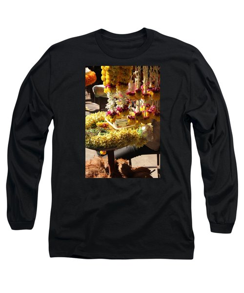 Flowers In The Market, Near Sajjangad 2 Long Sleeve T-Shirt by Jennifer Mazzucco