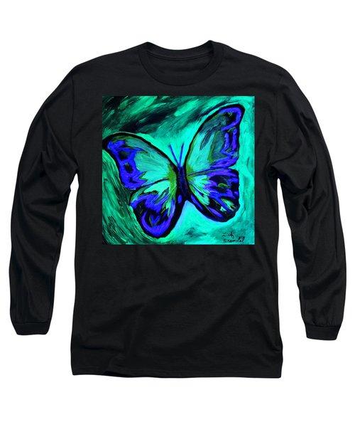 Flutterby Brings The Light Through Dark Long Sleeve T-Shirt by Lisa Brandel