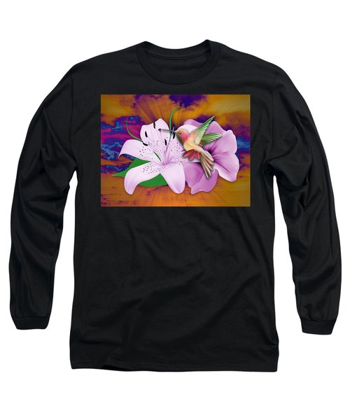 Long Sleeve T-Shirt featuring the mixed media Fluttering by Marvin Blaine