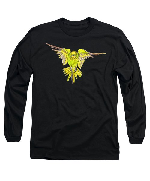 Flying Budgie Long Sleeve T-Shirt by Lorraine Kelly