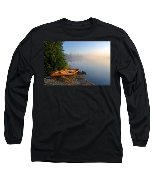 Foggy Morning On Spice Lake Long Sleeve T-Shirt by Larry Ricker