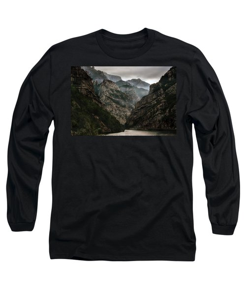 Foggy Mountains Over Neretva Gorge Long Sleeve T-Shirt
