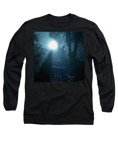 Foggy Night At The Old Railway Village Long Sleeve T-Shirt