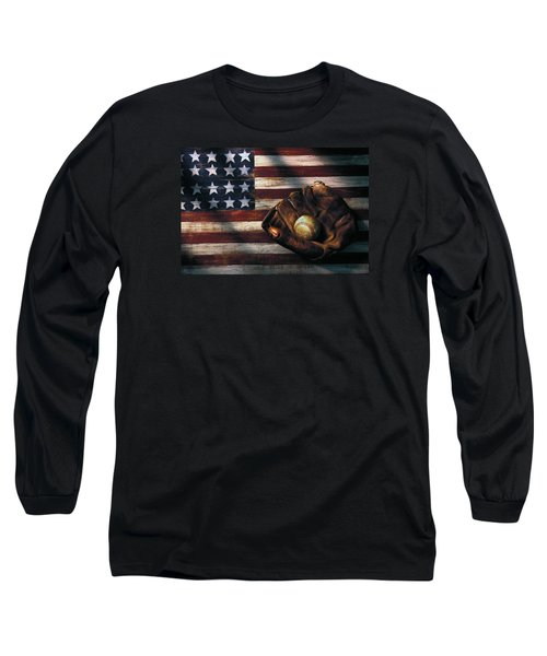Folk Art American Flag And Baseball Mitt Long Sleeve T-Shirt