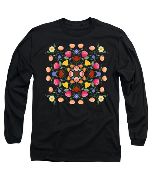 Folk Art Inspired Garden Of Fantastic Floral Delight Long Sleeve T-Shirt