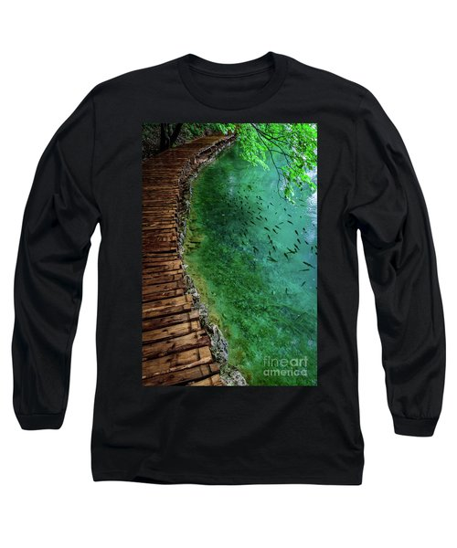 Footpaths And Fish - Plitvice Lakes National Park, Croatia Long Sleeve T-Shirt