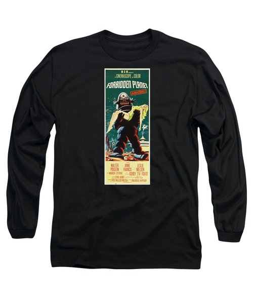 Forbidden Planet In Cinemascope Retro Classic Movie Poster Portraite Long Sleeve T-Shirt by R Muirhead Art