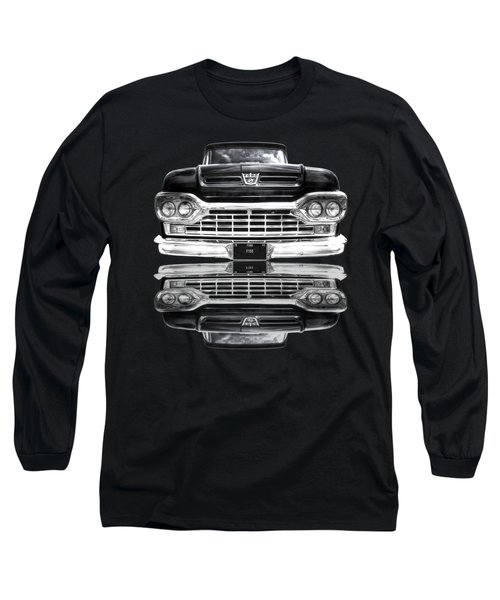 Ford F100 Truck Reflection On Black Long Sleeve T-Shirt