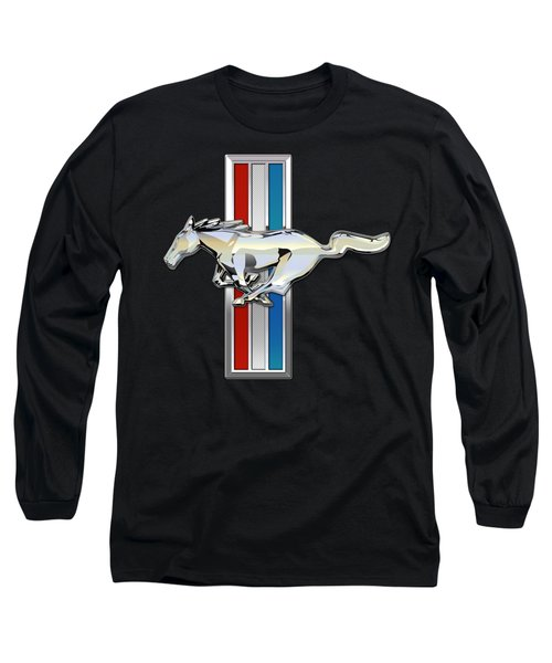 Ford Mustang - Tri Bar And Pony 3 D Badge On Black Long Sleeve T-Shirt by Serge Averbukh