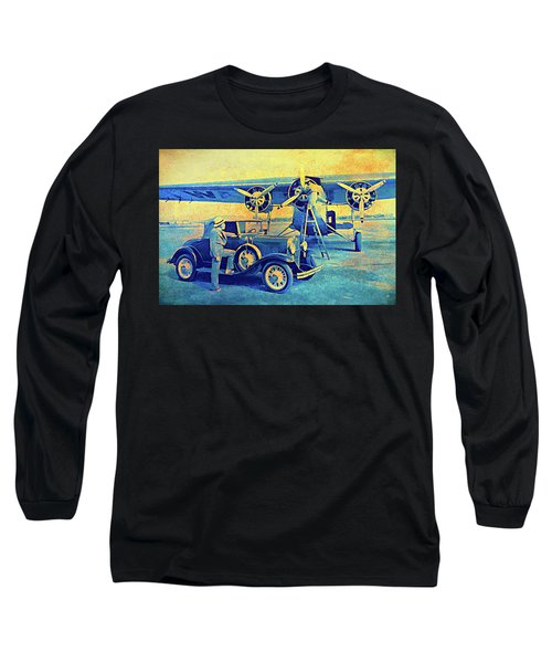 Ford Trimotor And 1931 Model A Roadster Long Sleeve T-Shirt