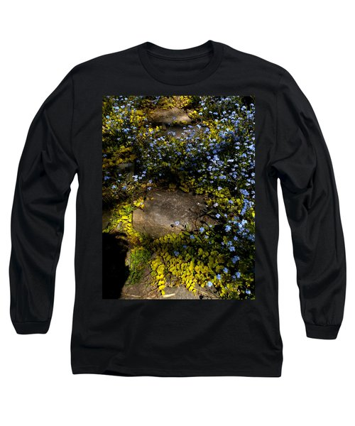 Long Sleeve T-Shirt featuring the painting Forget-me-nots 1 by Renate Nadi Wesley