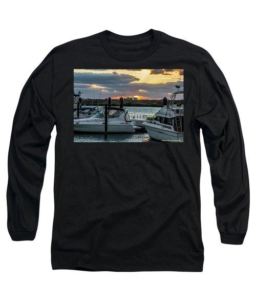 Fort Pierce Marina Long Sleeve T-Shirt by Nance Larson