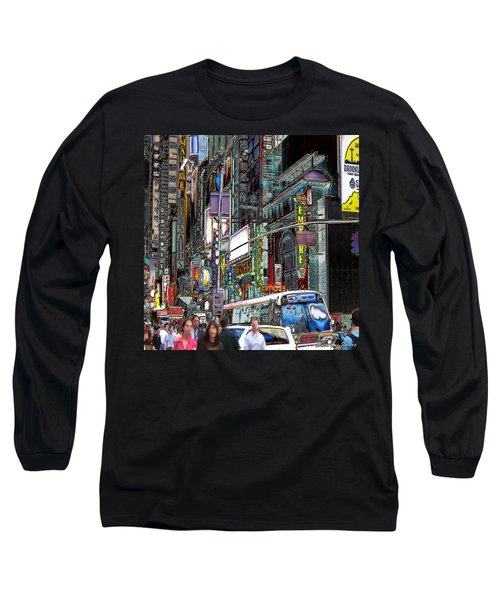 Forty Second And Eighth Ave N Y C Long Sleeve T-Shirt by Iowan Stone-Flowers