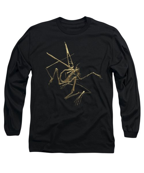 Long Sleeve T-Shirt featuring the digital art Fossil Record - Gold Pterodactyl Fossil On Black Canvas #1 by Serge Averbukh