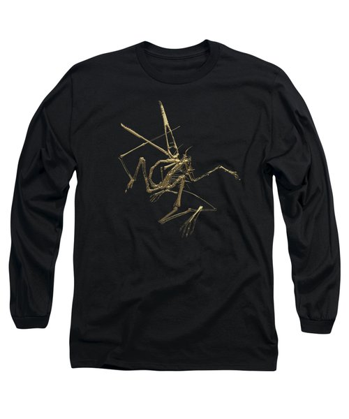 Fossil Record - Gold Pterodactyl Fossil On Black Canvas #1 Long Sleeve T-Shirt