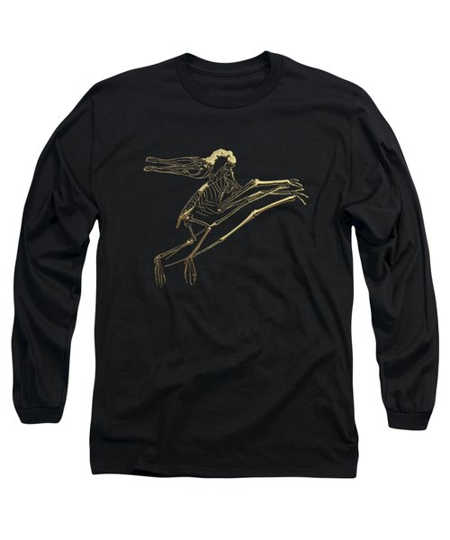 Fossil Record - Gold Pterodactyl Fossil On Black Canvas #2 Long Sleeve T-Shirt