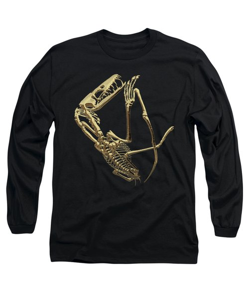 Long Sleeve T-Shirt featuring the digital art Fossil Record - Gold Pterodactyl Fossil On Black Canvas #3 by Serge Averbukh