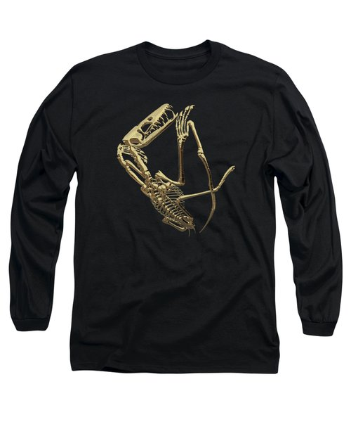Fossil Record - Gold Pterodactyl Fossil On Black Canvas #3 Long Sleeve T-Shirt