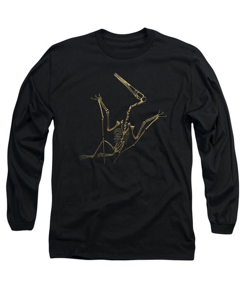 Fossil Record - Gold Pterodactyl Fossil On Black Canvas #4 Long Sleeve T-Shirt