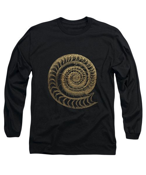 Long Sleeve T-Shirt featuring the digital art Fossil Record - Golden Ammonite Fossil On Square Black Canvas # by Serge Averbukh