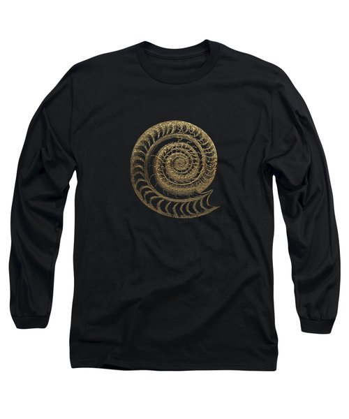 Fossil Record - Golden Ammonite Fossil On Square Black Canvas # Long Sleeve T-Shirt