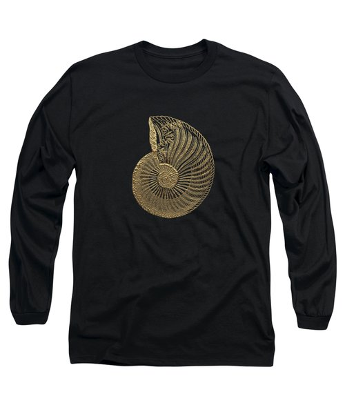 Fossil Record - Golden Ammonite Fossil On Square Black Canvas #1 Long Sleeve T-Shirt