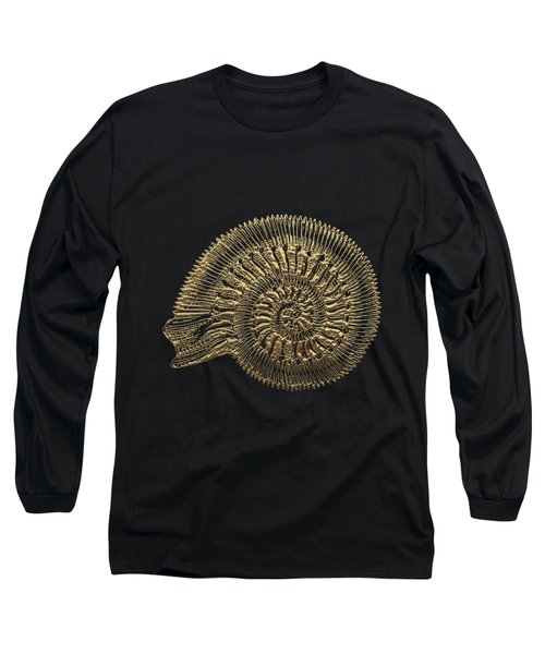 Long Sleeve T-Shirt featuring the digital art Fossil Record - Golden Ammonite Fossil On Square Black Canvas #2 by Serge Averbukh