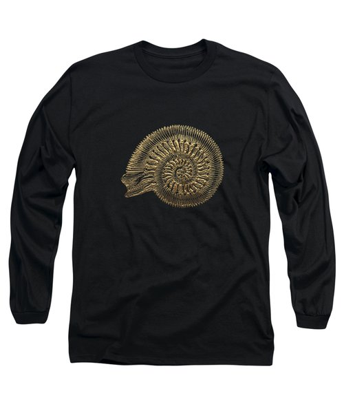 Fossil Record - Golden Ammonite Fossil On Square Black Canvas #2 Long Sleeve T-Shirt